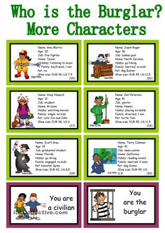 WHO IS THE BURGLAR? - 30 Conversation Cards - Roleplay - Class and Group Speaking