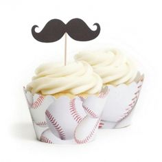 Baseball Mustache Topper & Wrapper Kit