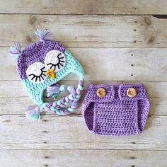 Crochet Baby Owl Hat Beanie Diaper Cover Bloomers Set Animal Newborn Infant Photography Photo Prop Handmade Baby Shower Gift Sleepy Owl