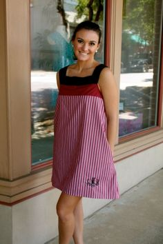 LOVE! monogrammed LK Designs Flag Dress in garnet   www.scsugar.com