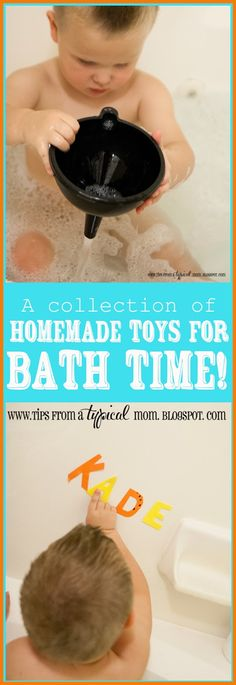 Tips from a Typical Mom: DIY Homemade Bath Toys for Toddlers Diy Kid Crafts For Boys, Diy Gifts For Kids, Toddler Gifts, Toddler Toys, Diy Crafts, Bath Toys For Toddlers, Kids Toys For Boys, Children Toys, Kids Bath