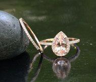 14k Rose Gold 9x6mm Morganite Pear Engagement Ring and Diamond Wedding Band Set