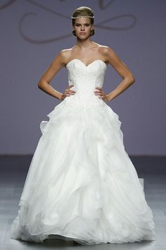 """Strapless Lace, Tulle, & Organza Ball Gown Featuring Sweetheart Neckline & """"Tossed"""" Skirt ---- Gown by Justin Alexander^^^^"""