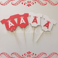 Anaheim Angels Onesie Cupcake Toppers  Set by ElectricLoveCreation