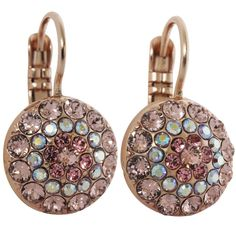 Mariana Rose Gold Plated Moondust Round Swarovski Crystal Earrings, Pink Petal 1141 319mr