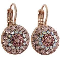 Mariana Rose Gold Plated Moondust Round Swarovski Crystal Earrings, Pink Petal. Available at www.regencies.com