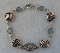 "Silver Evil Eye Link Bracelet Jewelry Handmade NEW Chain 8"" accessories fashion  #Handmade #ChainFashion"