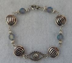 "Silver Evil Eye Link Bracelet Jewelry Handmade NEW Chain 8"" accessories fashion  #Handmade #Chain"