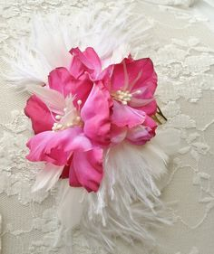 Pink Bridal Hair Flower Wedding Hair Flower by FancieStrands.....flower girls maybe!