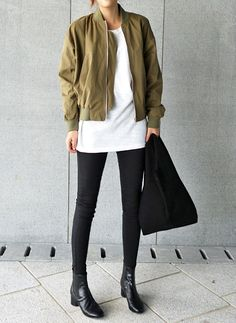 Bomber Jacket, White Tee, Black Skinny Jeans, Round Toe Ankle Boots