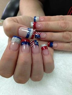 I have a collection of of July acrylic nail art designs of these Fourth of July nails are so adorable. Nail Art Designs 2016, Holiday Nail Designs, Toe Nail Designs, Holiday Nails, Pedicure Designs, July 4th Nails Designs, Pedicure Ideas, Christmas Nails, Fancy Nails