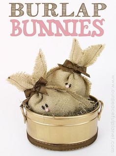 These darling burlap bunnies are not just for Easter! They would make a great addition to any floral arrangement or centerpiece. They they're SO easy to make! Easter Projects, Easter Crafts, Easter Decor, Easter Ideas, Bunny Crafts, Hoppy Easter, Easter Bunny, Summer Crafts, Holiday Crafts