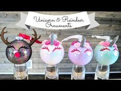 These adorable Unicorn and Reindeer glitter ornaments are perfect little stocking stuffers for christmas. Diy Christmas Reindeer, Clear Christmas Ornaments, Reindeer Ornaments, Glitter Ornaments, Christmas Ornament Crafts, Diy Christmas Gifts, Holiday Crafts, Holiday Fun, Christmas Decor