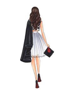 Graduated girl Fashion illustration by Reyni Ramirez #fashionillustration #fashionsketch #fashionartist #illustration