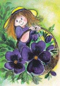 Villiorvokit (Wild Pansies) by Virpi Pekkala, Finland Lekker Dag, Mary Engelbreit, Goeie More, Text Pictures, Art Themes, Cool Paintings, Pretty Art, Whimsical Art, Simple Art
