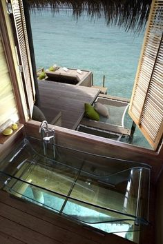 Over the Ocean, Glass Bottom Spa, Tahiti, French Polynesia - Need to go.as if Tahiti wasn't already on my top 5 wish list. Dream Vacations, Vacation Spots, Vacation Style, Vacation Rentals, Spiegel Design, The Ocean, Interior Exterior, Interior Design, Instagram Bio