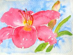 Coral Daylily Watercolor Notecard by FlowersToSend on Etsy