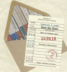 Library card Save The Dates | 30 Ideas for a Book-Inspired Wedding via Brit + Co.