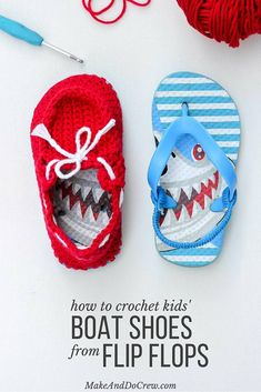 Turn cheap flip flops into crochet toddler slippers with this free pattern. The boat shoe style works well for girls and boys. Quick and easy project to make for kids!