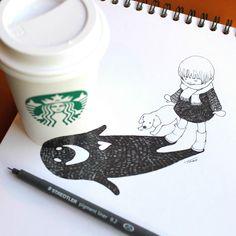 child looking at shadow (ghost shadow) by tokomo-shintani Starbucks, Shadow Illustration, Shadow Drawing, 3d Sketch, Cup Art, Illusion Art, Illustrations, Magazine Art, Art Reference