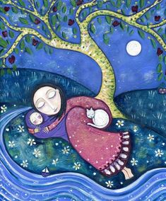 Mother child art baby nursery wall art print whimsical folk art childrens wall picture white cat inspirational -  'Dream By The River'