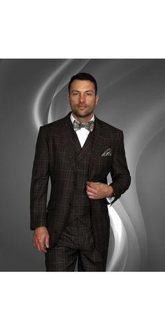 Men's 3 Pc Fashion Suit by STATEMENT - Brown