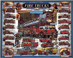 Amazon.com: White Mountain Puzzles American Fire Trucks: Toys & Games