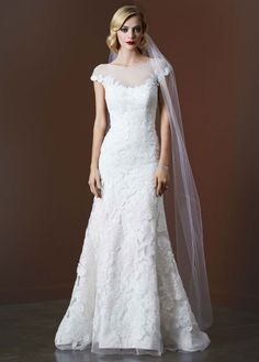 Tulle Trumpet Wedding Gown with Illusion Neckline - David's Bridal