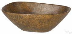 New England oblong burl bowl, 19th c., 5'' h., 15 1/4'' w., 10'' d. - Price Estimate: $800 - $1200
