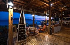 The Divine House hosts our restaurant, several lounges and terraces as well as countless artworks. Here it glows in the vibrant colours of sunset. Archipelago, Madagascar, Vibrant Colors, Colours, Terraces, Lounges, Artworks, Pergola, Outdoor Structures