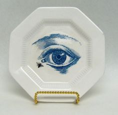 Altered Vintage Plate Blue Anatomical Eye White Ironstone wall hanging