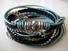 Boho Chic Pearlized Teal and Black Leather Wrap Bracelet by LeatherDiva, $41.00