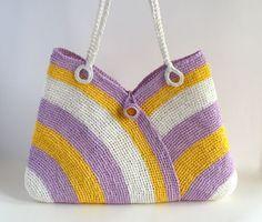 Colorful summer bag straw beach bag tote bag hand by RUMENA, $75.00