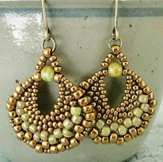 Peyote Stitch Beaded Earrings | The pair I'll never take off! Love those colors, to!
