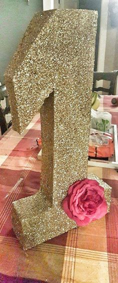 DIY Gold Glitter One Party Decoration via Pretty My Party