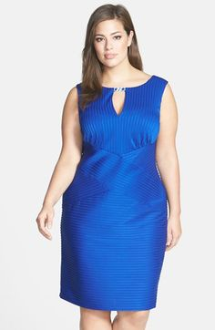 London Times Pintuck Jersey Keyhole Sheath Dress (Plus Size) available at #Nordstrom
