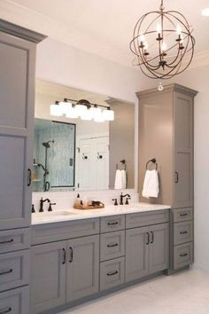 Grey master vanity with two towers undermount sinks antique bronze faucets and hardware and quartz countertops. Grey master vanity with two towers undermount sinks antique bronze faucets and hardware and quartz countertops. Bad Inspiration, Bathroom Inspiration, Bathroom Vanity Designs, Bathroom Sinks, Bath Vanities, Master Bathrooms, Gold Bathroom, Dream Bathrooms, Master Shower