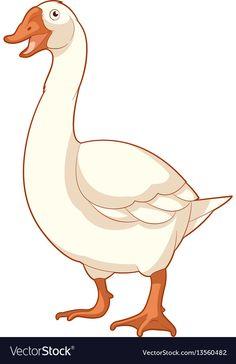 Cartoon smiling goose vector image on VectorStock Bird Drawings, Cartoon Drawings, Animal Drawings, Cartoon Butterfly, Cartoon Birds, Pottery Painting, Painting Art, Duck Art, Clay Birds