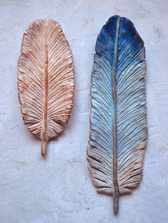 Decorative clay feathers ....  handmade, set of 2 ... Woodland decor. $68.00, via Etsy.