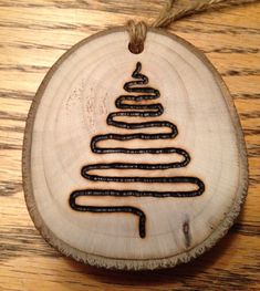 Rustic tree wood burned Christmas ornament - natural wood