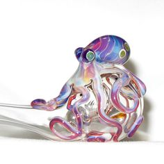 Octopus Sherlock Hand Blown Glass by andromedaglass on Etsy from andromedaglass on Etsy. Saved to Octopi in Theory. Blown Glass Art, Art Of Glass, Fused Glass, Glass Beads, Octopus Art, Octopus Pipe, Pipes And Bongs, Glass Figurines, Murano