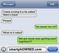 funny thing is, my ex is a music geek so this same thing happened to us! Well, he used a dif song but still. . .