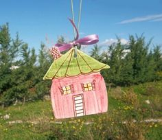 Pink ceramic little house with green roof by IoannasVeryCHic, $15.00