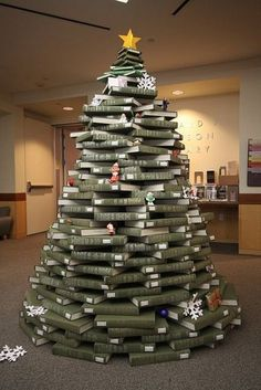 Stacked Books Christmas Tree in UNC Library.