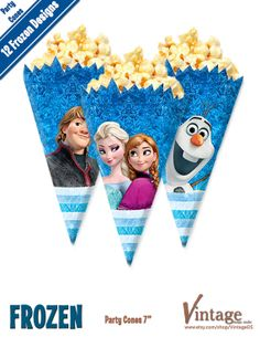 Disney Frozen Birthday Party Cones Images digital file DIY Olaf Sven Anna Elsa Hans Kristoff