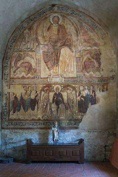 Unknown Romanesque Painter, French (active around Christ in Majesty, circa fresco Early Christian, Christian Art, Fresco, Austria, Carolingian, French History, Beaux Villages, Rhone, Orthodox Icons