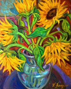 Revolution III Sunflowers - oil by ©Victoria Frazior (via ArtistRising)