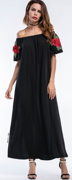 Bardot Embroidered Appliques Full Length Dress