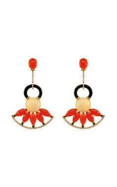 "Silvia Furmanovich, ""Coral, Onyx, and Diamond Earrings."""