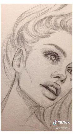 Girl Drawing Sketches, Art Drawings Sketches Simple, Pencil Art Drawings, Realistic Drawings, Cartoon Drawings, Cartoon Art, Girl Face Drawing, Sketch Girl Face, Drawings Of Girls Faces